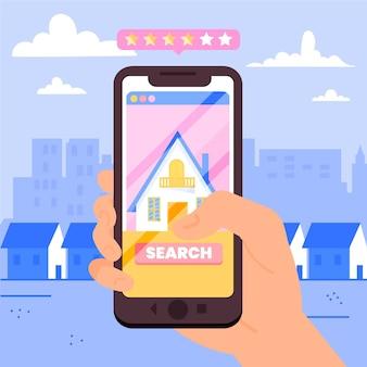 Illustrazione di ricerca immobiliare con il telefono