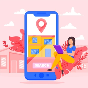 Real estate searching illustration with smartphone
