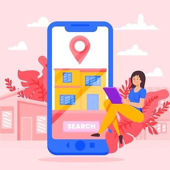 Illustrazione di ricerca immobiliare con lo smartphone