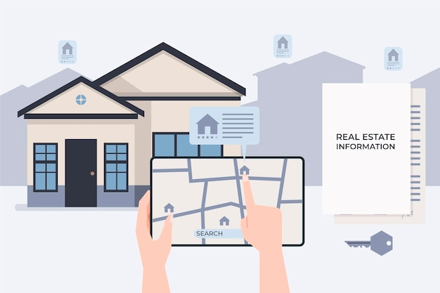 Real estate searching illustration with tablet