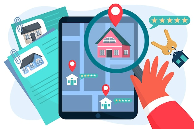 Real estate searching illustration