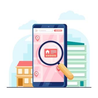 Поиск недвижимости на смартфоне проиллюстрирован