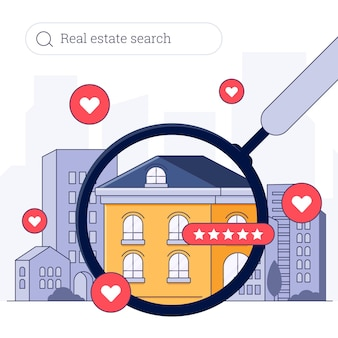 Real estate searching with house and magnifier