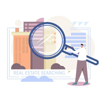 Real estate searching with man and magnifier
