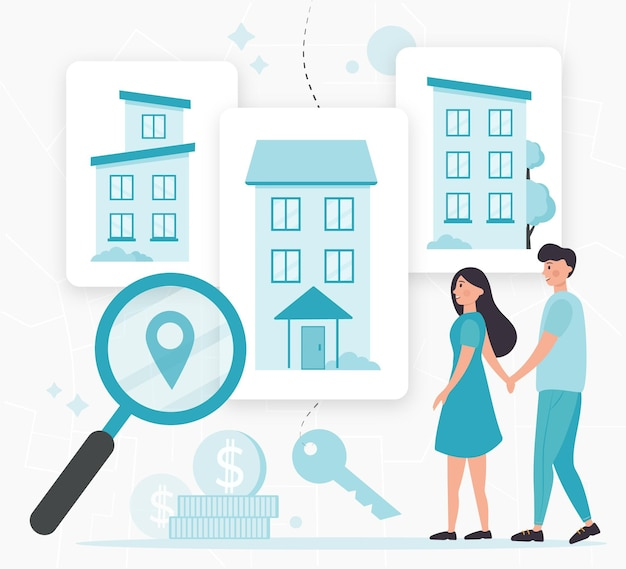 Real estate searching with people illustrated