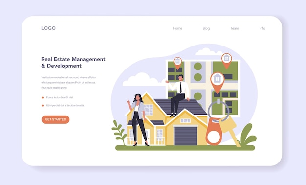 Real estate sector of the economy web banner or landing page