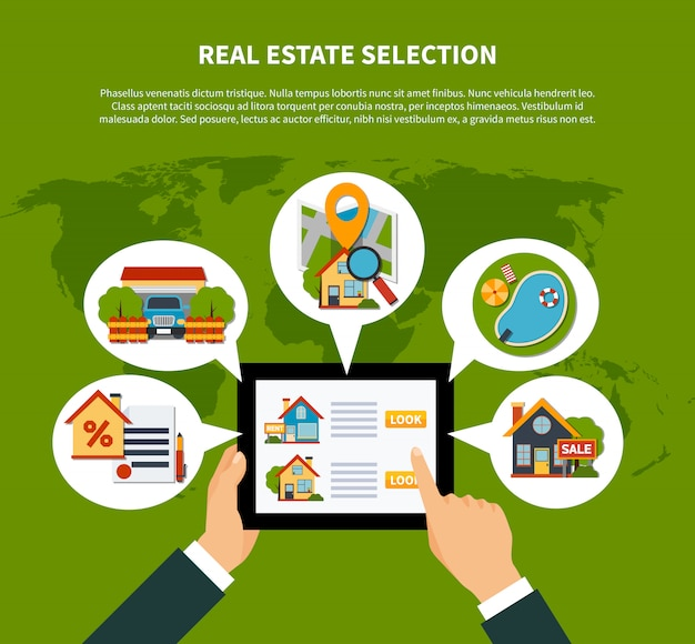 Real estate selection concept
