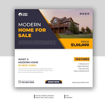 Real estate social media banner design or instagram post design