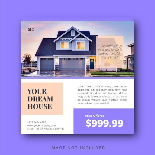 Шаблон поста и баннера в социальных сетях о недвижимости