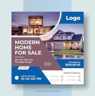 Real estate social media post house property instagram post or square web banner design