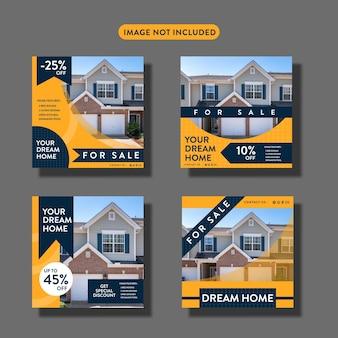 Набор постов или листовок о недвижимости в социальных сетях