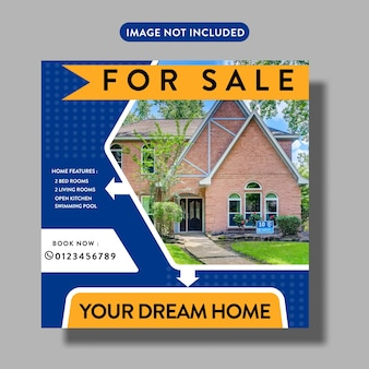 Пост или шаблон флаера в социальных сетях о недвижимости