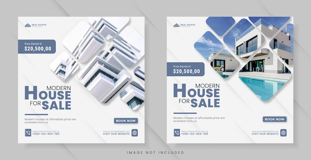 Real estate for social media post or square banner template