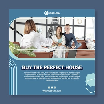 Real estate square flyer template