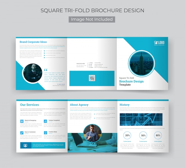 Real estate square trifold brochure template
