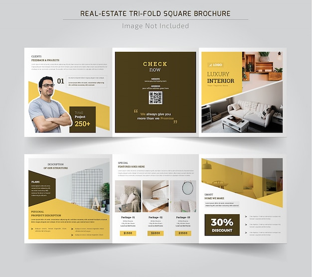 Real estate square trifold brohure