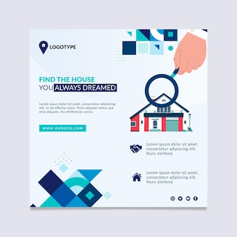 Real estate squared flyer template
