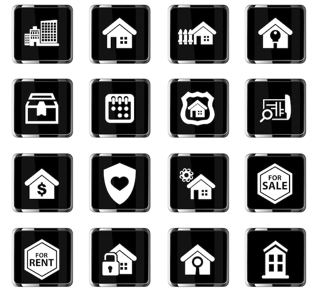 Real estate vector icons for user interface design