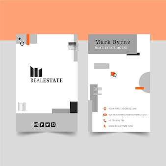 Real estate vertical business card template