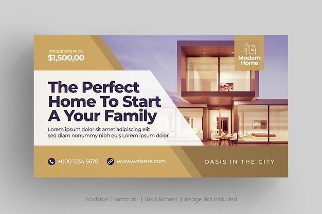 Веб-баннер о недвижимости и миниатюра на youtube