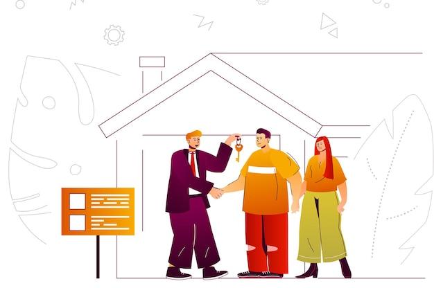 부동산 웹 개념 부동산 중개인은 부부가 새 집을 사거나 임대할 수 있는 열쇠를 줍니다.