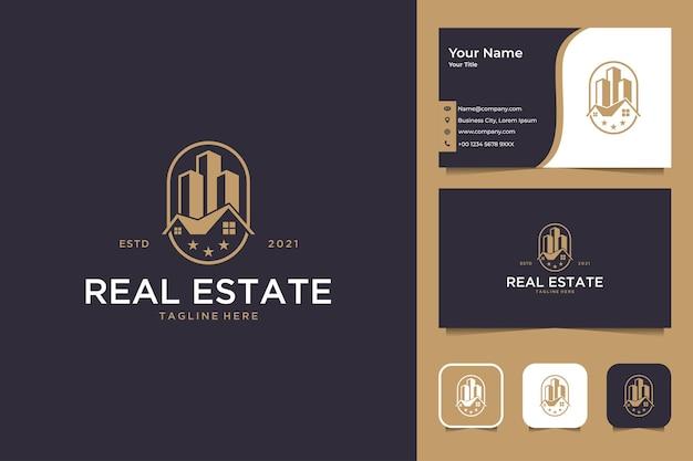 건물 및 집 로고 디자인과 명함이 있는 부동산