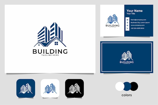 Real estate with building and house logo design and business card