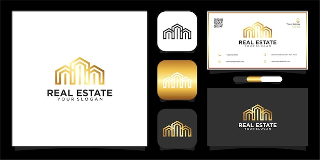 Real estate with building logo design and business card