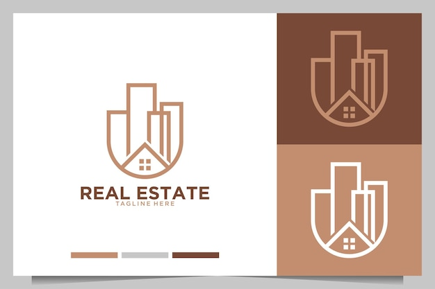 Real estate with home and city building logo design