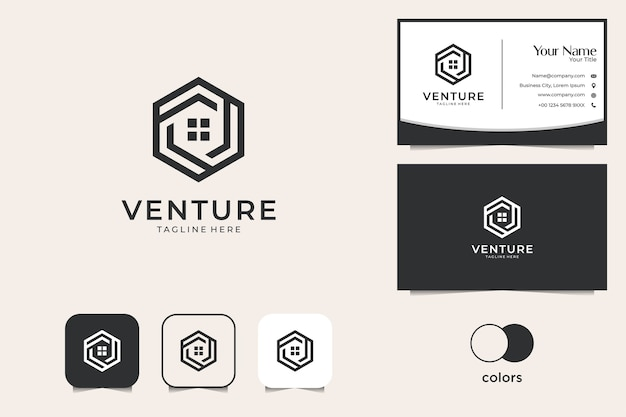 Real estate with home geometry logo design and business card