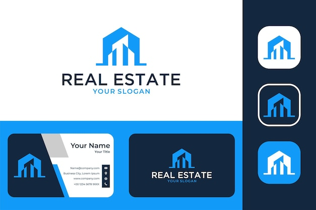 Real estate with house and city logo design and business card