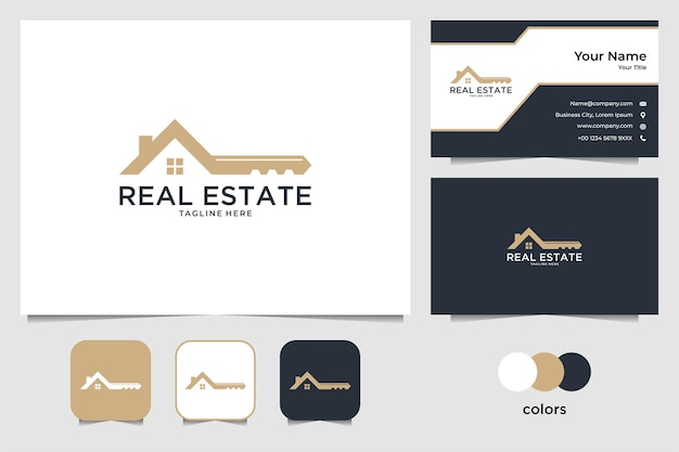 Real estate with house and key logo design and business card