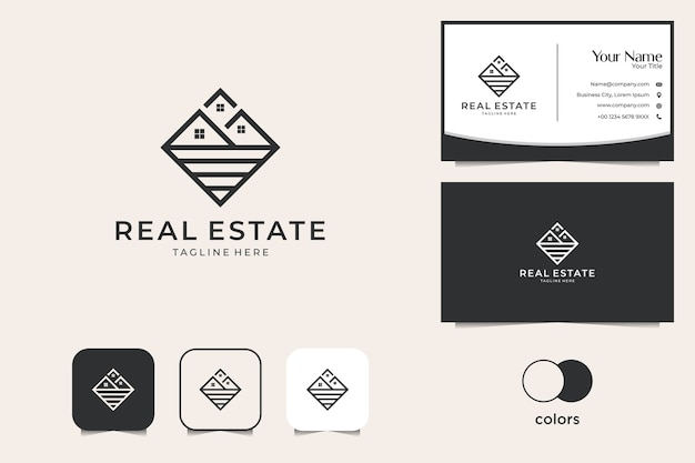 Real estate with line art logo design and business card