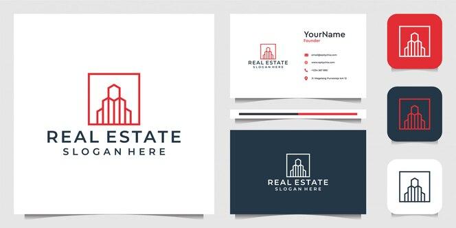 Immobili con stile art line. buono per affari, edifici, costruzioni, marchio, pubblicità e biglietti da visita