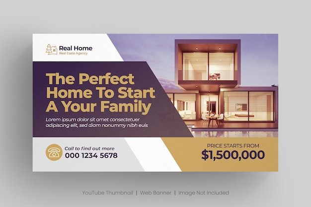 Real estate youtube thumbnail or web banner template