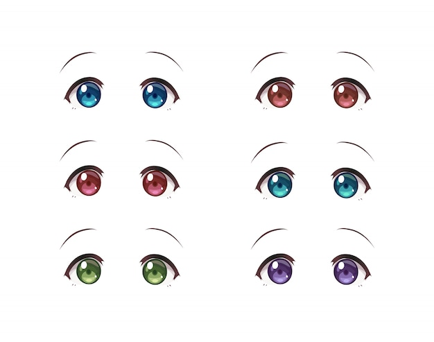 Real eyes of anime (manga) girls in japanese style. set of multicolored eyes on white