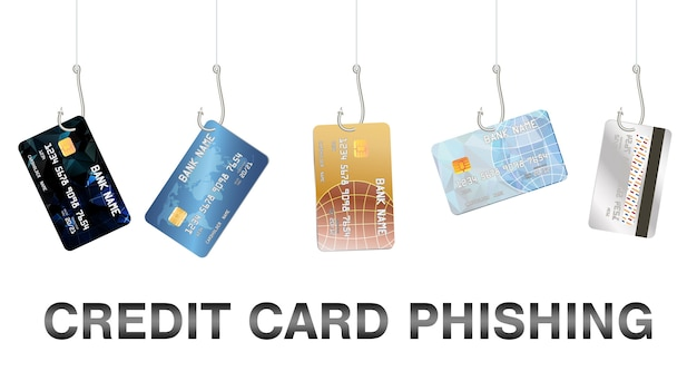 Real fishing hook phishing credit card vector