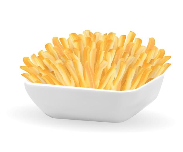 흰 그릇에 진짜 감자 튀김