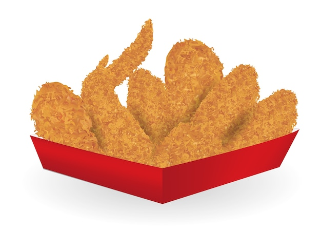 Real fried chicken in a red paper box package