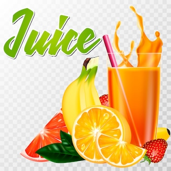 A real glass of juice with fruit and a splash