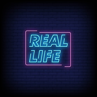 Real life neon signs style text