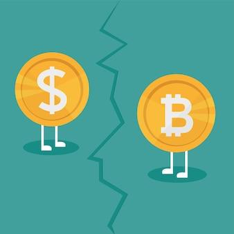 Реальные деньги против виртуальных денег биткойн - концепция роста криптовалюты. бизнес-концепция. война между валютами