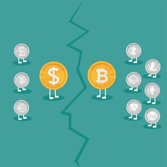 Real money vs bitcoin virtual money - crypto currency growing concept. business concept. war between currencies