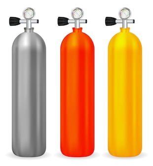 Real oxygen tank with meter on white background