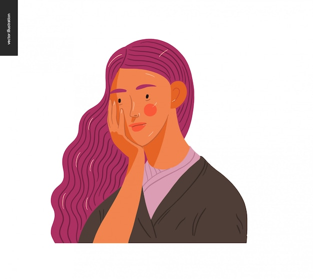 Real people portraits - purple-haired woman