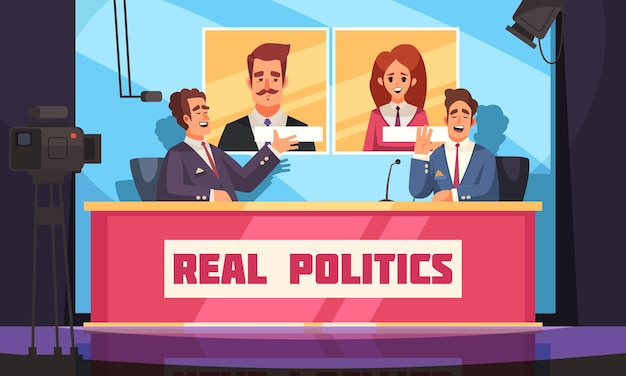Настоящая политика с живым интервью с политиком журналистом и избирателями Premium векторы