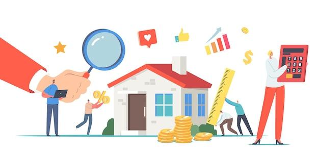 부동산 가치, 평가 개념. 하우스 검사를 하는 감정사 캐릭터. 부동산 평가, 판매 에이전트를 통한 가정 전문 평가. 만화 사람들 벡터 일러스트 레이 션