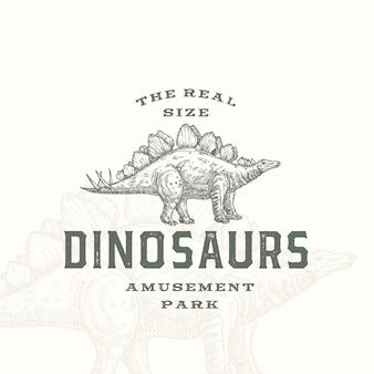 Реальный размер динозавров парк развлечений абстрактный знак символ или логотип