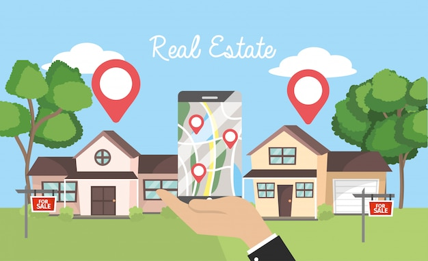 Real state houses and businessman with smartphone map