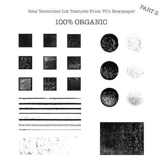 Реальные векторизованные черные текстуры чернил из газеты 70-х годов 2